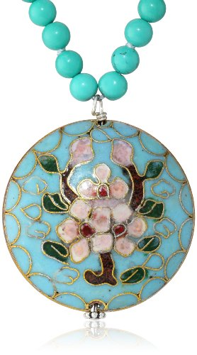 "Sterling Silver Beaded Turquoise Necklace with Cloisonne Pendant, 16""-18"""