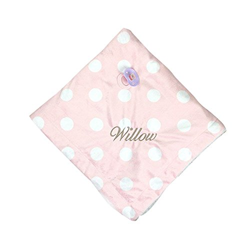 GiftsForYouNow Polka Dot Embroidered Baby Blanket, Pink ()