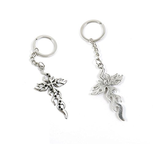 100 PCS Fire Latin Cross Keychain Keyring Jewelry Making Charms Door Car Key Tag Chain Ring P3PT7L by ChinaTownUS