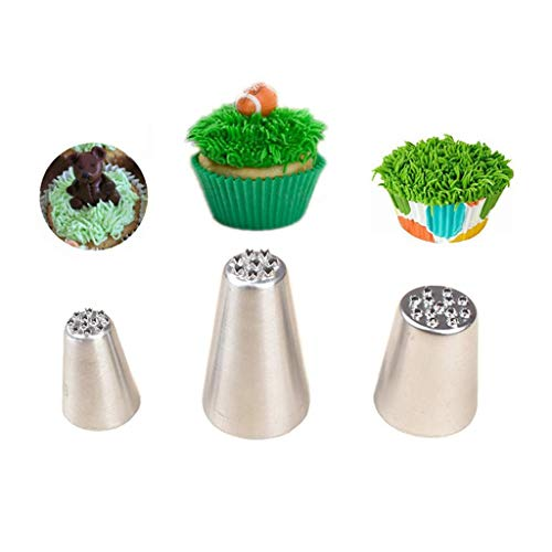 Yevison 3pcs/Set Stainless Steel Piping Nozzles, Icing Piping Nozzles Cake & Cupcake Decorating Tips Kit Pastry DIY Baking Tools Durable and Useful