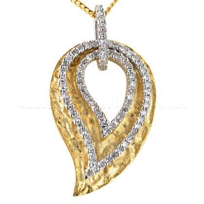 Diamond & martelé or 9 carats avec pendentif en forme de feuille