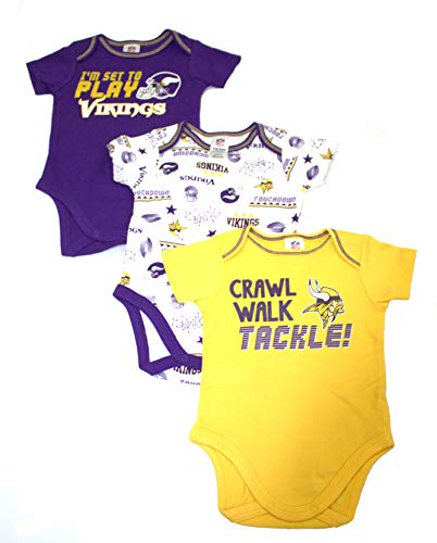 55f963bd768 NFL Minnesota Vikings Unisex-Baby 3-Pack Short Sleeve Bodysuits, Purple, 3-6  Months