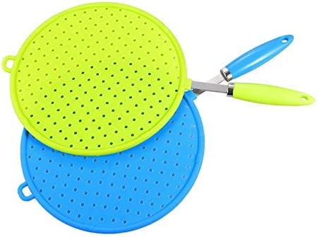 anti-oil lid 33cm green Webri Silicone Anti-Splash Screen Splash Guard in Stainless Steel with Silicone Handle for Many Pots and Pans Practical cooking pan