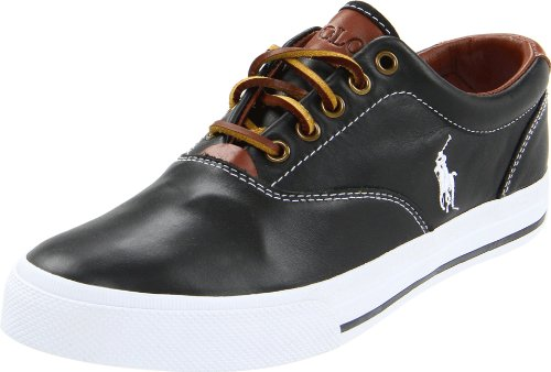 Polo Ralph Lauren Men's Vaughn Leather Sneaker, Black Soft Leather, 11.5 D - Warehouse Clearance