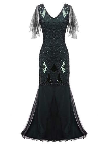 FAIRY COUPLE Women's Gatsby 1920s Floor Length Sequin V-Neck Flapper Party Prom Cocktail Dress S Green]()