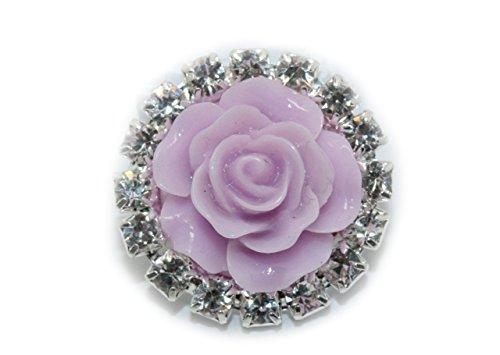 LIKA Rhinestone Embellishments Resin Rose (10 Pieces) Flatback No Shank Rhinestone Buttons (Lavender)