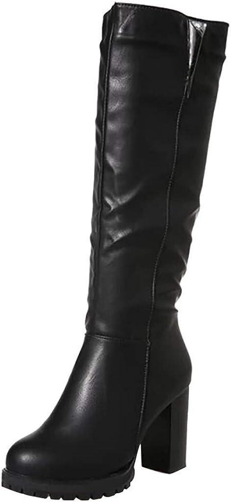Logobeing Botas Mujer Rebajas, Zapatos de Tacón Alto de Mujer por Encima de La Rodilla Hebillas Botas de Cuero de Caballero de Tubo Largo Zapatillas