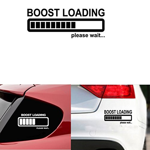 Car Decal Stickers 'Boost Loading Please Wait'Last for 6 Years, Size:8''X2.5''(Reflective Material Black)