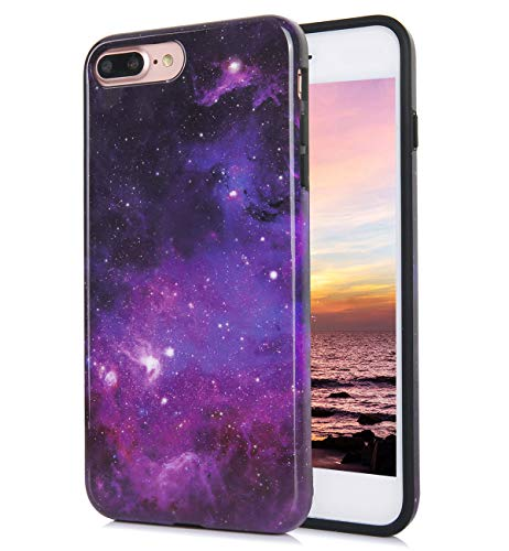 iPhone 8 Plus iPhone 7 Plus Case Cute Floral Glossy Galaxy Blue Purple Pattern IMD Hybrid Hard TPU Back Cover Shockproof Protective Fun Phone Cases for Women Girls Men Boys[5.5