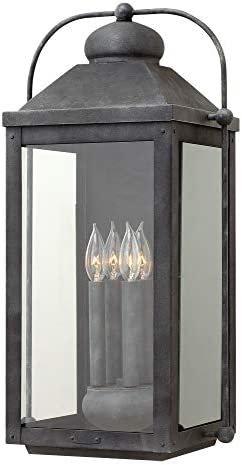 Hinkley 1858DZ-LL Anchorage-25 Four Light Outdoor Wall Mount, Choose Lamping Option 5W Candelabra Base, Extra Large, Aged Zinc LED