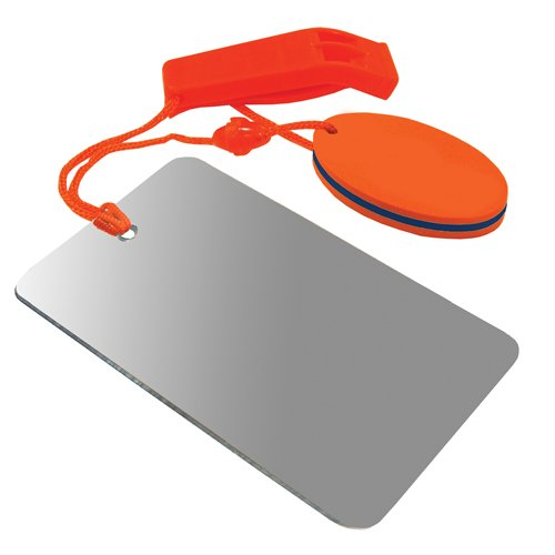 UST Find-Me Signal Mirror & Hear-Me Floating Whistle Combo with Three Wilderness Essentials in One, Including a Signaling Mirror, Emergency Whistle and Orange Float; Great for Camping, Backpacking and Survival ()