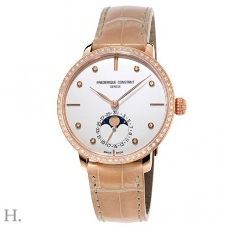 Frederique Constant Slimline Moonphase Leather Automatic Ladies Watch FC-703VD3SD4