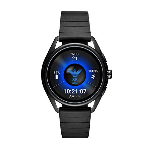 Emporio Armani Men's Touch-Screen Smartwatch with Rubber Strap, Black, 20 (Model: ART5017)