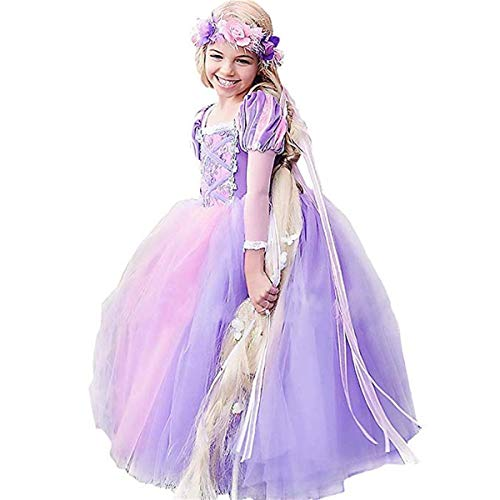 CQDY Rapunzel Costume for Girls Cosplay Party Princess Dress Up 2-13T Purple