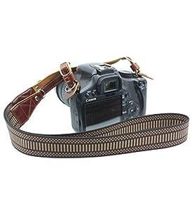 CEARI Premium Nylon Braided Camera Shoulder Neck Strap Belt for Canon Nikon Pentax Olympus Sigma Sony Fujifilm Casio Panasonic DSLR Camera + MicroFiber Clean Cloth - Coffee