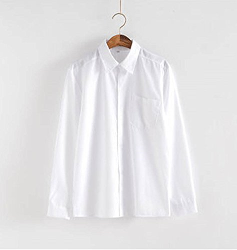 Dream-Store College Men's High School Boys School Uniform Long-Sleeve Button-Down Shirt and Pants (Asian XXL, White Grey) by Dream-Store (Image #2)