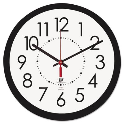 Electric Contemporary Clock, 14-1/2'', Black, Sold as 1 Each