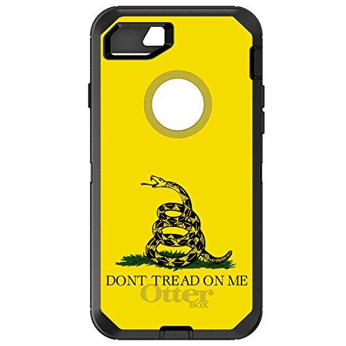 DistinctInk Case for iPhone 7 Plus / 8 Plus - OtterBox Defender Black Custom Case - Don't Tread On Me - Gadsden Flag