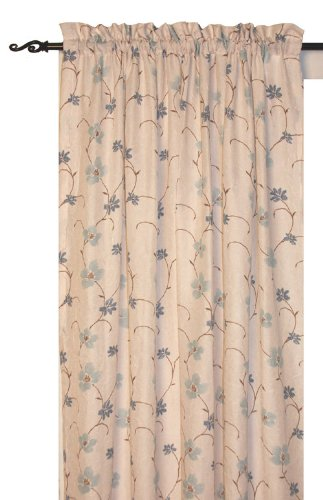 Zoe Floral Print Tailored Panel Semi Sheer Curtain 48 Inch By 63