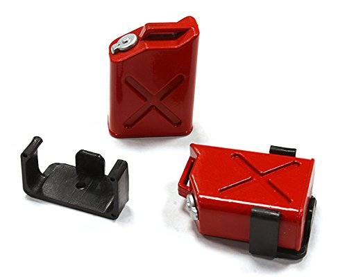 Integy RC Model Hop-ups C25183RED Realistic Jerry Can Gas Fuel Tank (2) w/ Bracket for 1/10 Scale Rock Crawler - Gas Rc Tank