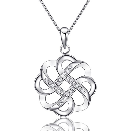 EURYNOME 925 Sterling Silver Endless Love Vintage Irish Celtic Knot Pendant Necklace for Women Girls,Jewelry Gifts for Her