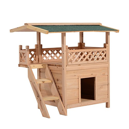 (PawHut 2-Story Indoor/Outdoor Wood Cat House Shelter with Roof)