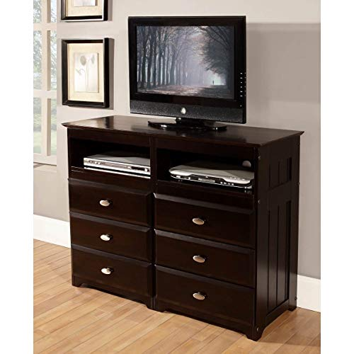 American Furniture Classics Espresso-Finished Pine Wood 6-Drawer Entertainment Dresser ()