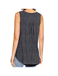 Womens Sleeveless V Neck Solid Color Casual Swing Shirts Flowy Tank Tops Vest