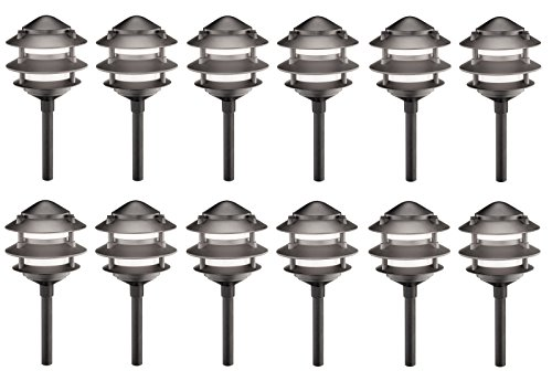 12 Pack Malibu 8301-9200-12 3-Tier Cast Metal Pathway Yard Landscape Lights,11 Watt, in Matte Black BY MALIBU DISTRIBUTION