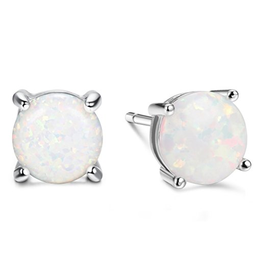 Finrezio Round Cut Opal Stud Earrings for Women Girls Silver Plated 7.5MM (White)