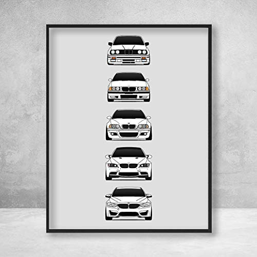 BMW M3 Poster Print Wall Art of the History and Evolution of the M3 Generations (BMW Car Models: E30, E36, E46, E92, F80)