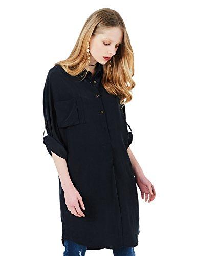 Pure Silk Shirt (Silk Blouses for Women 100 Silk Blouse Long Sleeve Pure Silk Shirt Black Mulberry Silk Button Down Shirt Casual Silk Shirt Dress (XL))