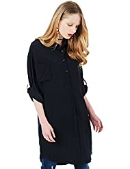 Womens Silk Blouse Long Sleeve 100%Silk Blouse Mulberry Silk Button Down Shirt Dress Black