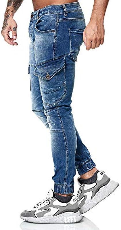 OneRedox Designerskie męskie dżinsy cargo spodnie cargo Regular Skinny Fit Destroyed Stretch model 8036: Odzież