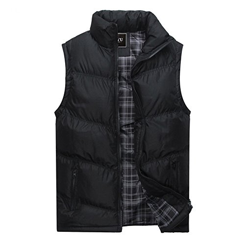 acolchado verde oscuro Otoño Chaleco Outwear acolchado de Abrigo de invierno Negro para Chaqueta de azul negro hombre viento Invierno de cremallera a prueba de Moda wwngBqH7Ir