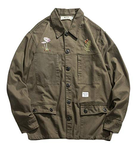 edbb7563ad64a Sweatwater Men Smocked Outer Button Up Coat Vintage Turn Down Jacket Army  Green S