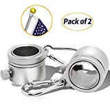 ANLEY Aluminum Flagpole Mounting Rings, 360° Anti Wrap with Carabiner for 1 Inch Diameter Flag Pole (Silver, Pack of 2)