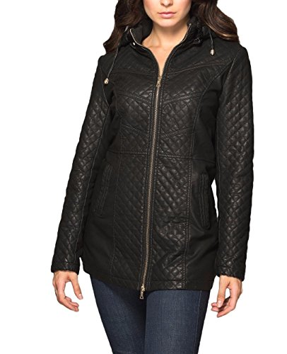 Faux-Fur-Lined Quilted Faux-Leather Jacket L (Couture Leather Jackets)
