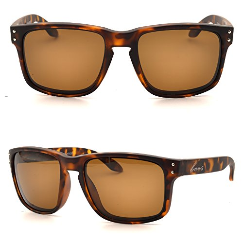 BNUS Italy made Classic Sunglasses Corning Real Glass Lens w. Polarized Option (Frame:Matte Tortoise / Lens: Brown B15, - Matte Glasses Tortoise