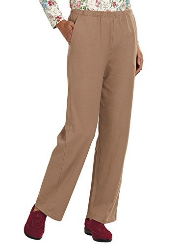 Carol Wright Gifts Essential Knit Pant, Color Taupe, Size Small, Taupe, Size Small (Cropped Pants Knit Cotton)
