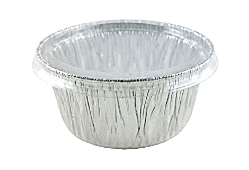 4 oz. Alumiunum Foil Cup w/Clear Lid - Utility/Cupcake/Ramekin 500/PK by Osislon Series