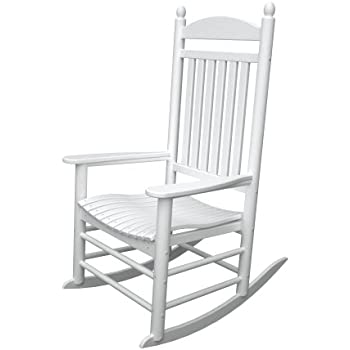 white outdoor rocking chair. POLYWOOD Jefferson Outdoor Rocking Chair Slat Back, White P