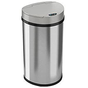 iTouchless 13 Gallon Automatic Touchless Kitchen Trash Can – Semi-Round Stainless Steel Can with Extra-Wide Opening