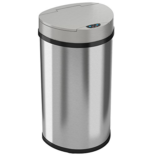 iTouchless 13 Gallon Kitchen Trash Can, Stainless Steel, Semi-Round, Extra-Wide Opening