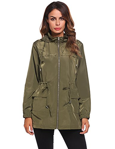 Unibelle Women Army Green Military Parka Button Trench Hooded Coat (Cotton Parka)