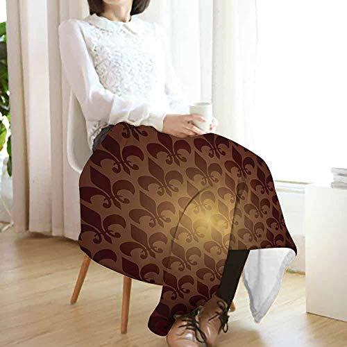 (Fleur De Lis Travel Blanket,Royal Lily Flower Inspired Floral Baroque Style Dark Pattern Modern Style Artwork Cozy Hypoallergenic Easy to Carry Blanket (60