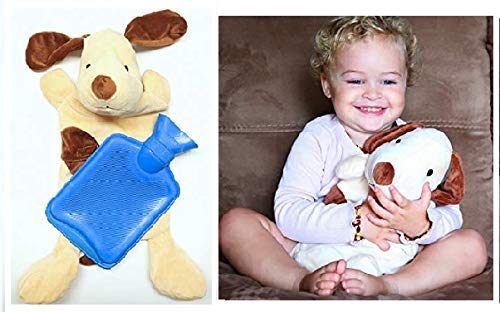 (Hot Water Bottle Blue with Pup Cover Classic Rubber Hot Water Bag with Dog Cover to Sooth Aches, Pains and Keep Warm on Chilly Nights )