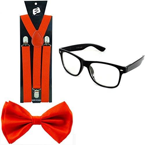 Enimay Suspender Bowtie Wayfarer Clear Glasses Nerd Costume Halloween Red - Halloween Costume Red Glasses