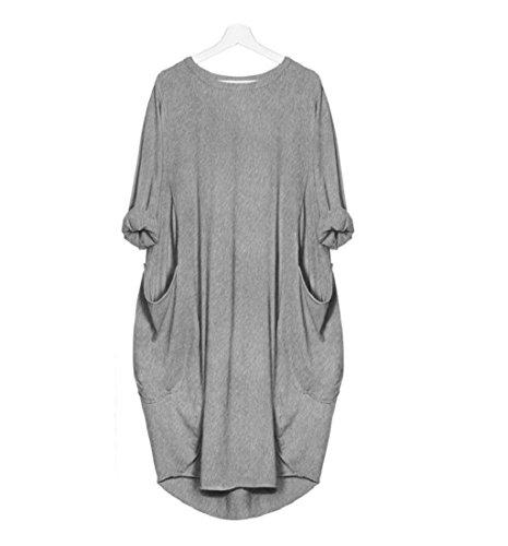 Robe Tops Lache Robe Mode Taille Cou de Amlaiworld Robe Robes Longues de Plus Gris de d'quipage Poche Dames Robe Femme I6ErYqxwI