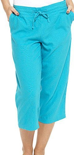 9126530664727 INSIGNIA Ladies Womens Linen Casual Short Trousers Crop 3 4 (Turquoise